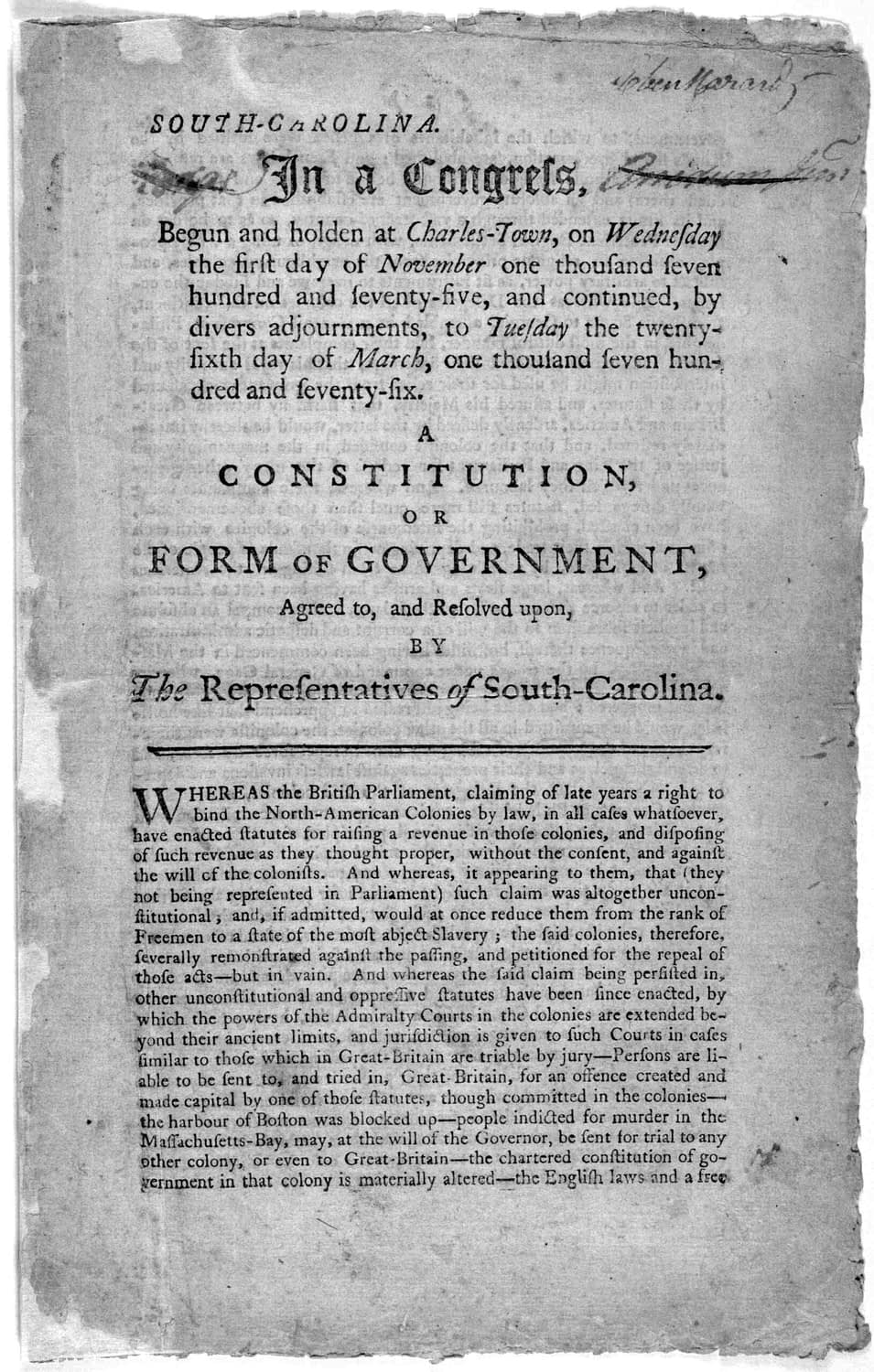 Constitution of South Carolina: March 26, 1776