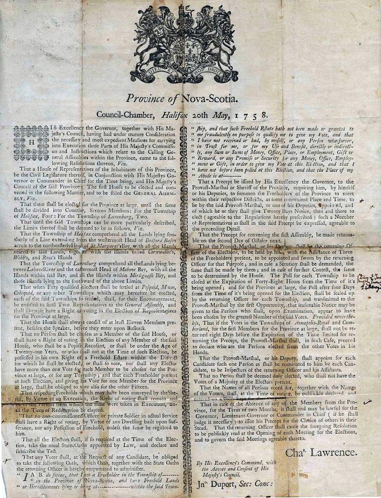 1758 Proclamation
