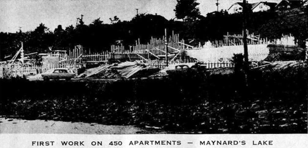 Lakefront Apartments under construction at Maynard's Lake