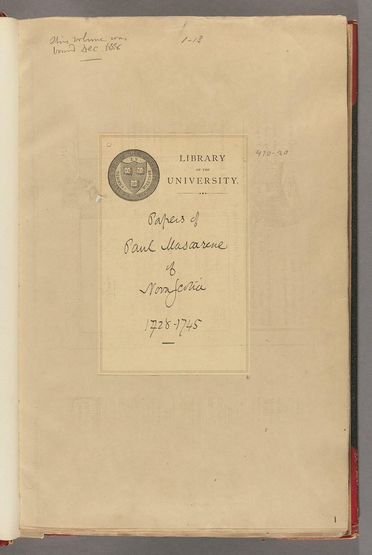 Paul Mascarene papers, 1728-1745