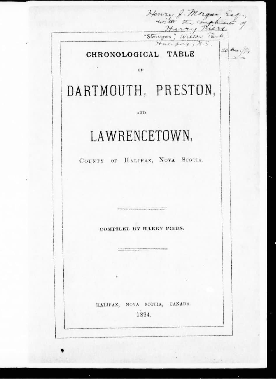 Chronological Table of Dartmouth, Preston, and Lawrencetown