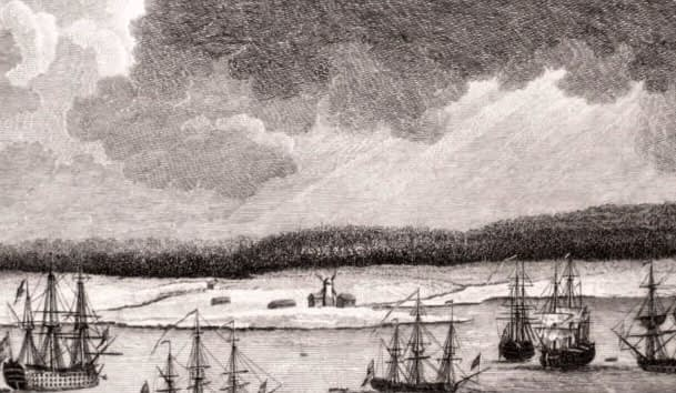 Part of the Town & Harbour of Halifax in Nova Scotia, Looking down George Street to the Opposite Shore Called Dartmouth